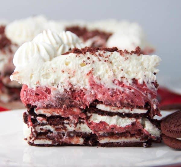 Red Velvet Oreo Cheesecake Icebox Cake