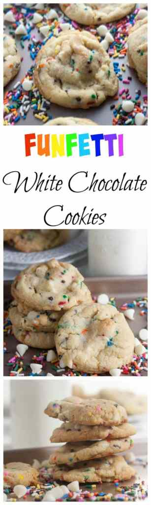 Funfetti White Chocolate Chip Cookies | White chocolate chip cookies | funfetti cookies | funfetti desserts | white chocolate desserts