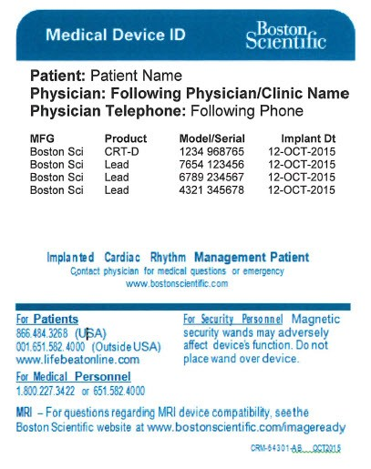 Medical Device ID Cards - Boston Scientific - name card example