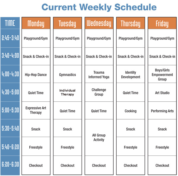 Sample Schedule Boston Youth Sanctuary