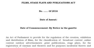 Kenya Films, Stage Plays & Publications Bill