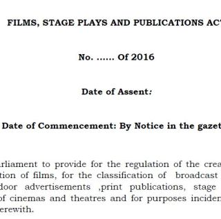 The Films, Stage Plays & Publications Bill: KFCB's Chilling Statement of Intent