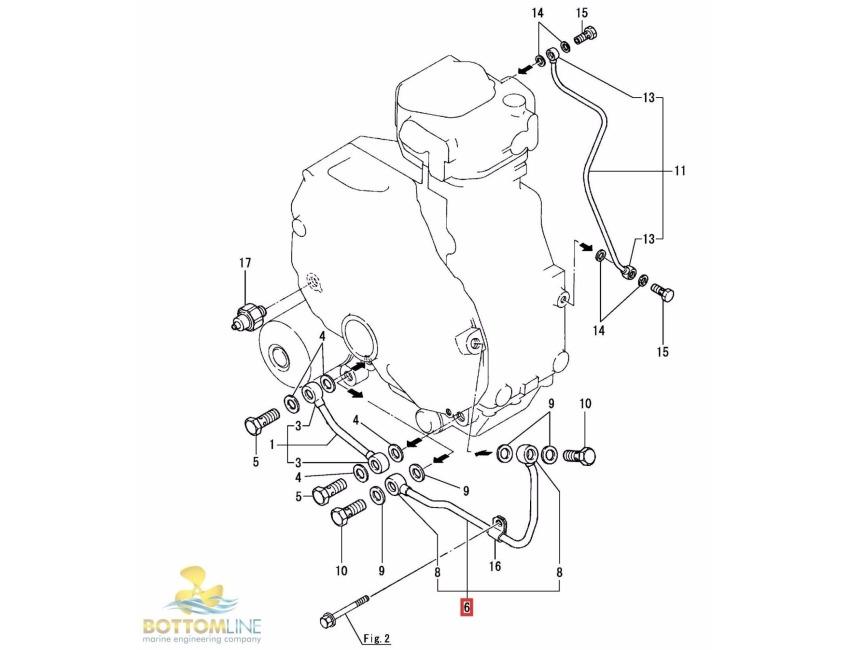 Genuine YANMAR - 1GM 1GM10 lube oil pipe 128170-39020 Lubrication