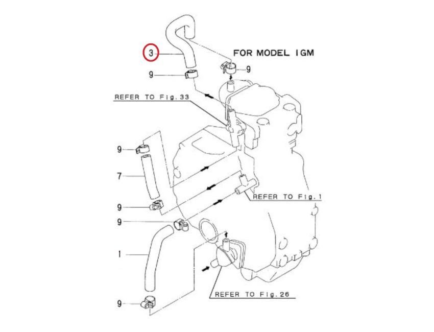 YANMAR - 1GM - 1GM10 - Sea Water hose - Pipe - Genuine - 128170