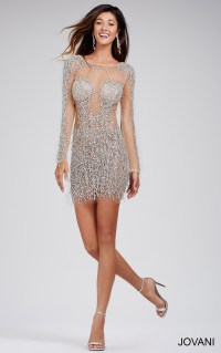 Jovani Dresses | Womens Long Sleeve Cocktail Dress with ...