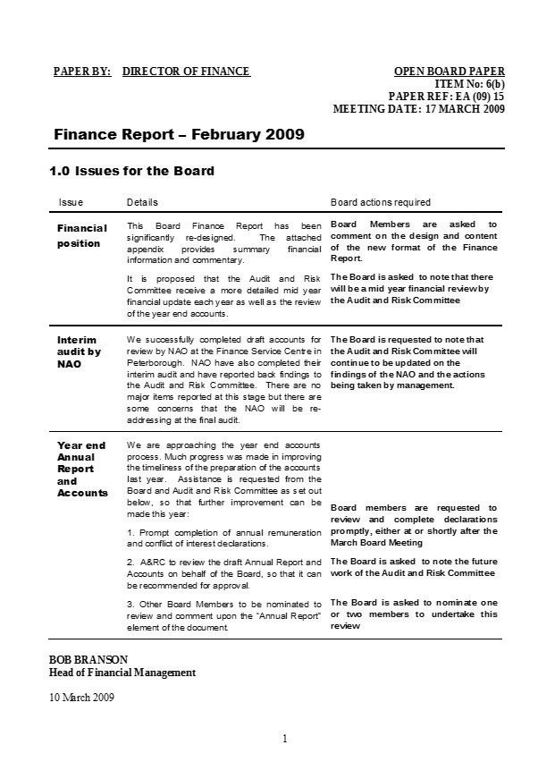 Reporting Formats (The hidden factor in effective communication - Finance Report Format