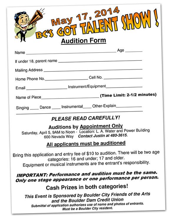 BC\u0027s Got Talent Auditions - April 5th - Boulder City Home of Hoover