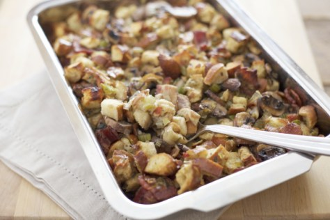 Pretzel Bread Stuffing with Bacon, Leeks and Mushrooms | Bourbon and ...