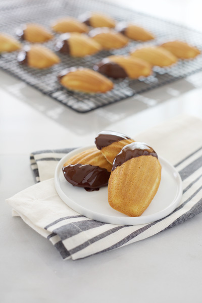 Chocolate Dipped Vanilla Bean Madeleines | Bourbon and Honey