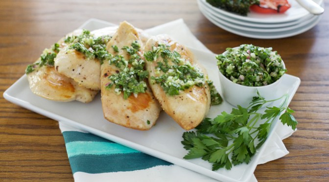 Grilled Chicken with Chimichurri | BourbonAndHoney.com