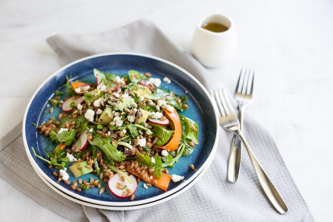 Carrot, Radish and Wheat Berry Salad with Lemon Vinaigrette