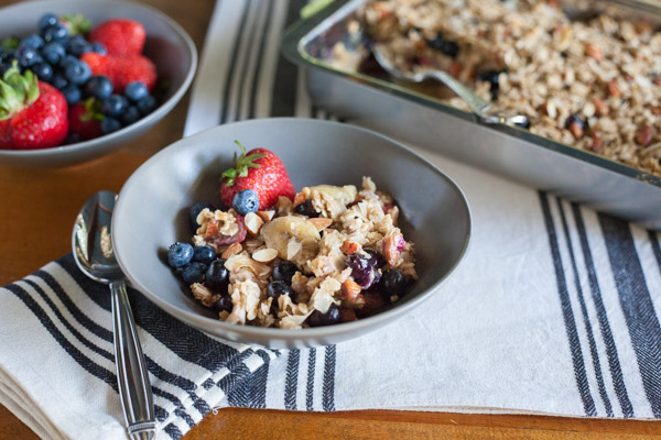 Coconut Baked Oatmeal with Berries