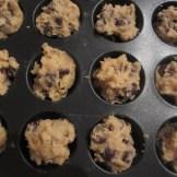 Cookie dough in the mini cupcake pan