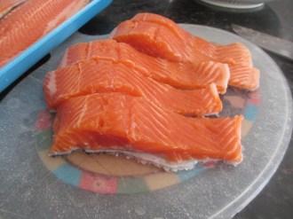 Salmon filet, sliced