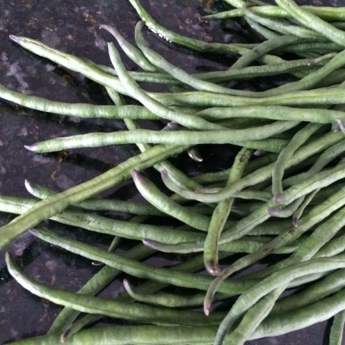 Long green beans, washed