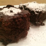 Side view of two brownies