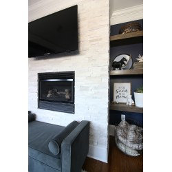 Small Crop Of Stacked Stone Fireplace