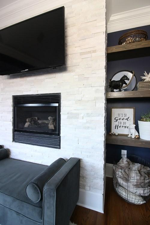 Medium Of Stacked Stone Fireplace