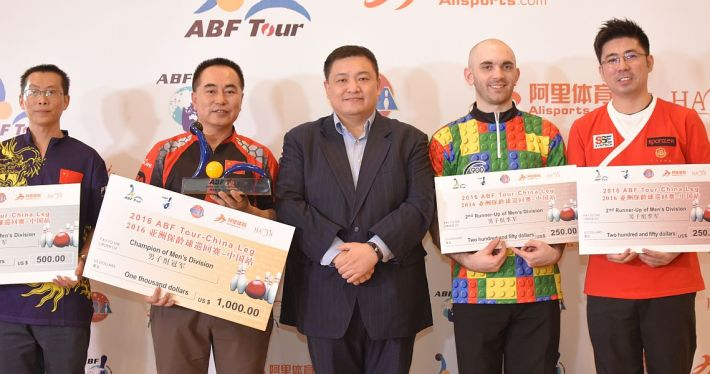 From left to right, Shi Guangming, Mi Zhongli, Liu Yong (VP Alisport), Sam Cooley and Remy Ong.