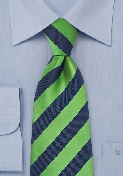 Striped Tie in Navy and Green Bows-N-Ties