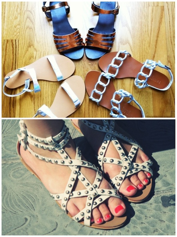 sandals sandales cuivre or holo holographic argent silver white blanc pastelle asos zara clous studs gladiator spartiates
