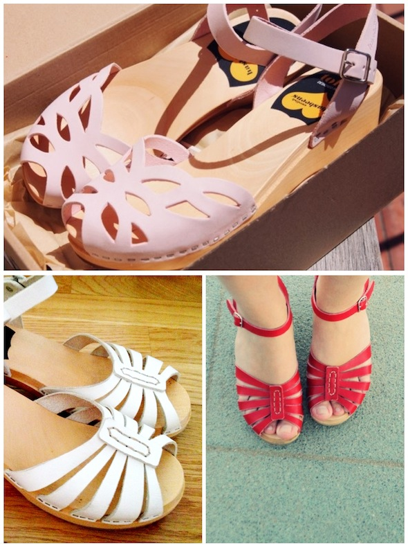 swedish hasbeens light pink h&m white rouge red blanc sandals sandales bois wood