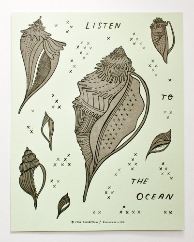 """Listen to the Ocean"" Letterpress poster by Susie Ghahremani / boygirlparty.com"