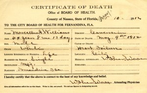 1912 Death Certificate - Marcellus Williams