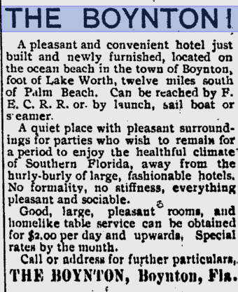 Boynton Hotel ad from 1899