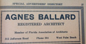 Agnes Ballard's ad from the city directory