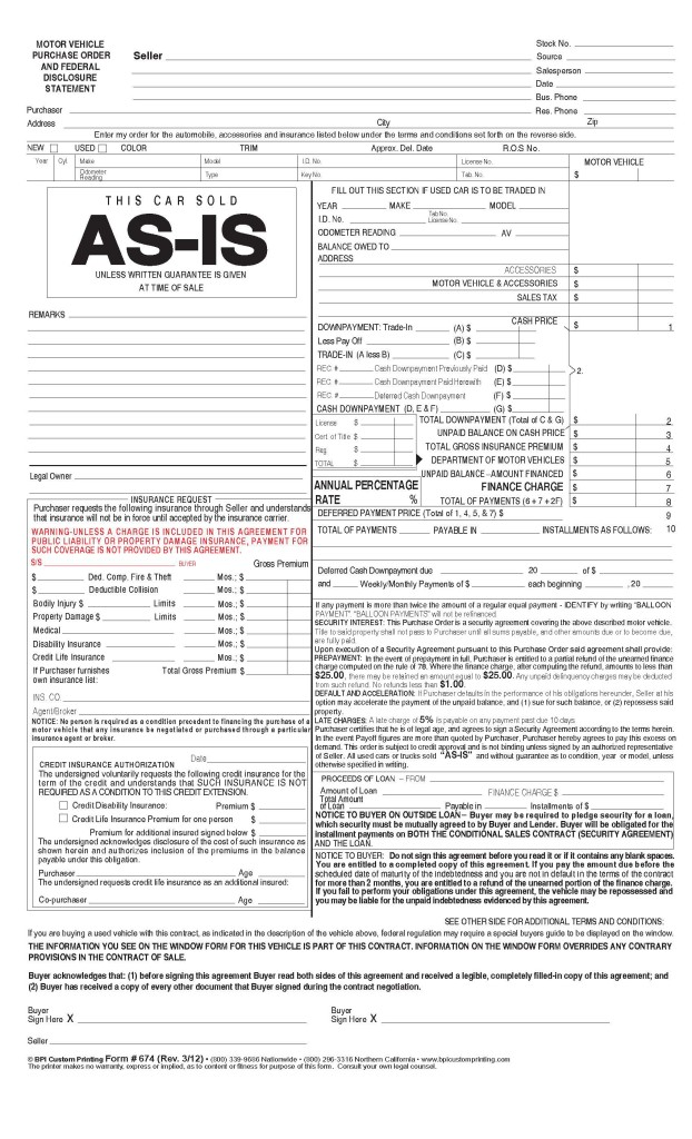 Nevada As-Is Purchase Order - BPI Dealer Supplies - vehicle purchase order form