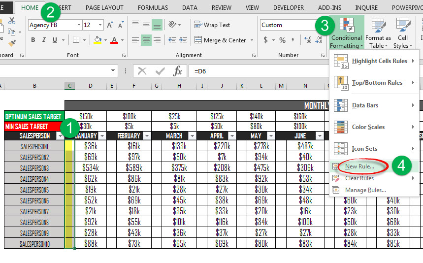 Excel Dynamic Conditional Formatting Create a User Controlled KPI