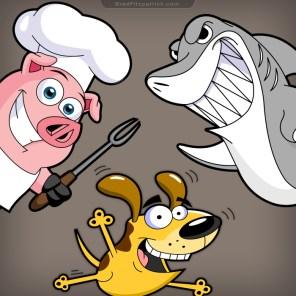 Cartoon-Pig-Shark-Dog-Character-Designs