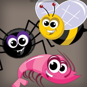 Cartoon-Spider-Shrimp-Bee-Character-Designs-Video-Game