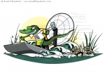 Vector Illustration of a Crocodile driving an air boat like a mad man through a swamp almost running over a woman who is swimming frantically away