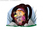 Vector Illustration of a Little Girl Reading Harry Potter inside a Backpack