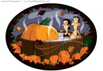 Vector Illustration of a Giant Pumpkin in a hot tub with a husband and wife