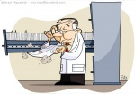 Vector Illustration of a Scientist dusting off a file from a large file cabinet drawer