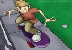 Digital Illustration of a Boy Skateboarding down a sidewalk