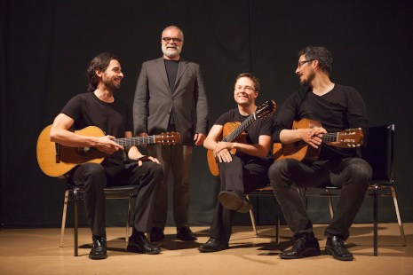 Victoria Guitar Trio with composer Rodney Sharman in Vancouver, 2014. Photo by Mark Mushet.