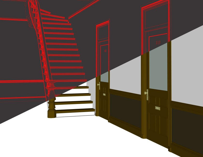 Staircase wireframe composite image