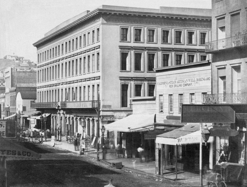 View looking northerly at corner of Montgomery and Merchant Streets, 1855