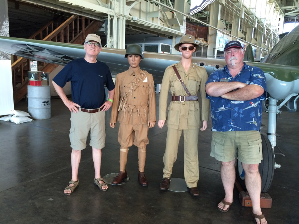 """For scale, we pose with """"Chennault"""" and a Chinese ally. Yes, the helmet came from ties with the Germans. History is weird."""