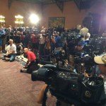 I couldn't get them all into the picture from where I'm standing, but I'm guessing there were about twice as many media types as for Mark Sanford's big confession six years ago.