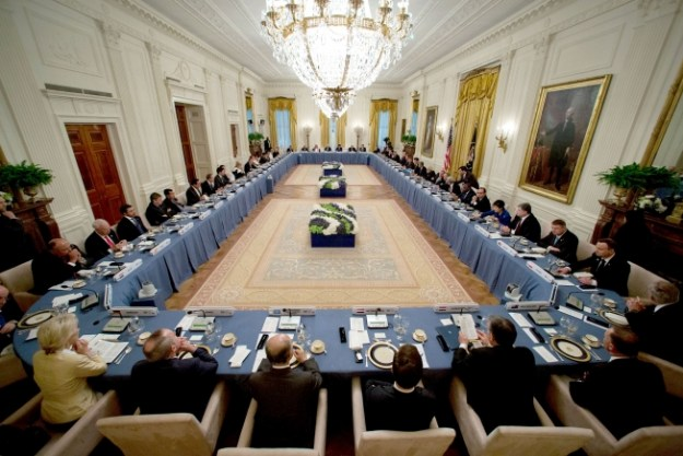 President Barack Obama hosts the Nuclear Security Summit working dinner with the heads of delegations in the East Room of the White House, March 31, 2016. (Official White House Photo by Pete Souza)