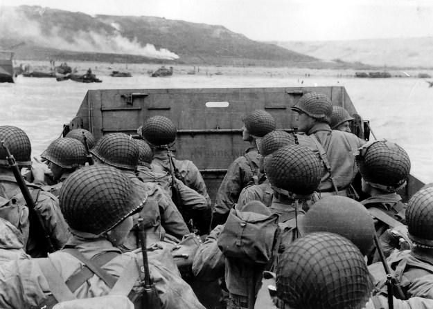 Approaching Omaha Beach, June 6, 1944.