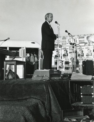 Speaking at a Democratic rally somewhere east of Nashville. I think this was the rally at which I first met Al Gore. Note all the Butcher and Clement posters.