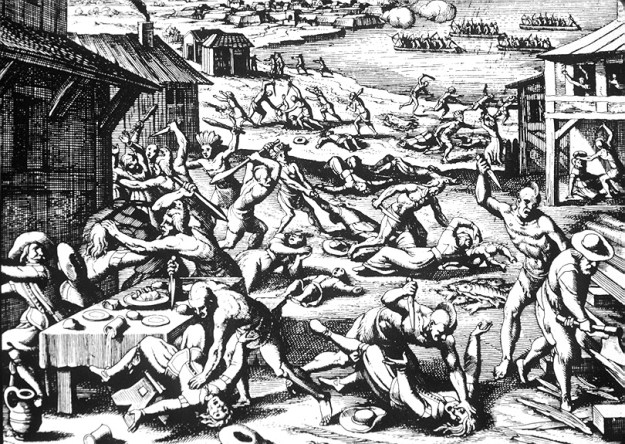 A 1628 woodcut supposedly depicting the Indian attack of 1622, from which Jamestown was spared due to intel obtained by my ancestor, Richard Pace.