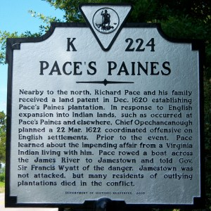 This historical marker in Surry County, Virginia, tells some of my ancestor's story.