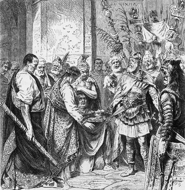 Romulus Augustus resigns the Crown (from a 19th-century illustration).